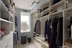 long closet with window at end