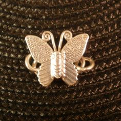 Thai Karen Hill Tribe Sterling Silver Toggle Clasp, Stamped Butterfly Toggle Clasp, Small to Medium Size, Qty. 1, 24x21mm