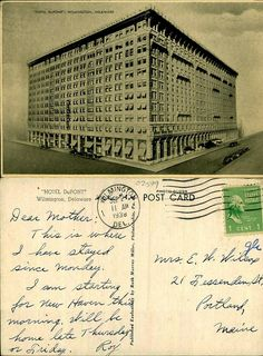 From the huge Caley Postcard Collection at the Delaware Public Archives (thousands of postcards from Delmarva, all available on Flickr!) -- Hotel DuPont, Wilmington, Delaware