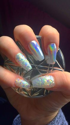 Iridescent multicoloured chrome and glitter acrylic coffin/ballerina nails #ad