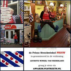 Genomineerd Leukste Winkel van Nederland 2016! Stem Friese Streekwinkel Priuw Leeuwarden via https://awards.nlstreets.nl. Ps je kan gelijktijdig je stem uitbrengen op de Nieuwe Oosterstraat, de winkelstraat waar we zijn gevestigd. Hartelijk dank! Groetnis.