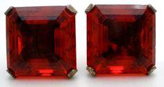 Red Rhinestone Earrings Sterling Silver by TheJewelryLadysStore