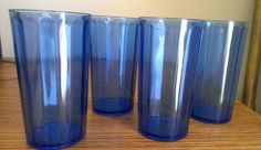"""Vintage Glass Cobalt Blue Water Tumblers HTF set of four 4 3/4"""" tall #unknowncolbaltblue"""