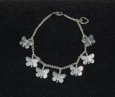 Silver Butterfly Bracelet Charm Bracelet Silver Bracelet
