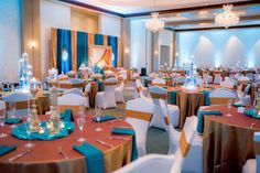 Indian Wedding Reception with Gold, Teal and Crystal Décor with Candelabra Centerpieces at Tampa Bay Wedding Venue, The Palmetto Club at Fishhawk Ranch