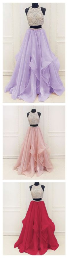2 pieces 2017 prom dress,long prom dress,organza pageant dress