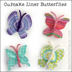Butterfly Craft for Kids - Cupcake Liner Butterflies from www.daniellesplace.com