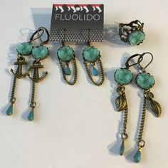 Boucles d'oreilles Pendentif Druzy AQUA Bracelet Turquoise, Aqua, Charmed, Personalized Items, Bracelets, Jewelry, Crystals, Brass, Ears