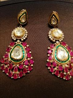Indian Wedding #Earrings #Jewellery | Beautiful Ruby, Polki and Diamond Earrings wit Meenakari Work. wedmegood.com @wedmegood