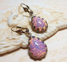 Pink Fire Opal Harlequin Glass Earrings by dfoxjewelrydesigns, $20.95