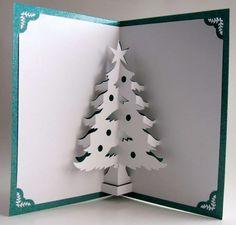 Biglietti Natale pop up fai da te - Biglietti pop up di Natale fai da te: albero con la stella