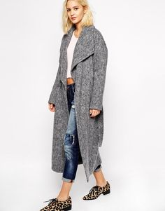 River Island | River Island Longline Belted Coat at ASOS