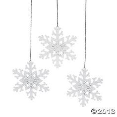 painted metal snowflakes. $12.50 per dozen.  Iridescent Glitter Snowflake Ornaments