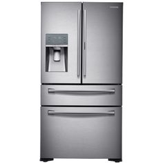 Samsung Food Showcase 22.4-cu ft Counter-Depth French Door Refrigerator with Single Ice Maker (Stainless Steel) ENERGY STAR