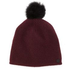 Rag & Bone Cynthia Knit Beanie with Shearling Fur Pompom (250 CAD) ❤ liked on Polyvore featuring accessories, hats, beanies, navy, knit beanie, beanie cap hat, fur hat, pom beanie and beanie skull cap