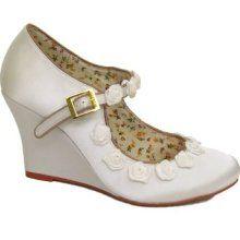 My wedding shoes! Bridal Wedges, Wedding Wedges, Wedding Shoes, Wedge Shoes, Wedding Inspiration, Ivory, Footwear, Satin, Shoe Bag