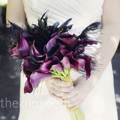Real Weddings - A Formal Wedding in San Francisco, CA - Calla Lily and Feather Bouquet