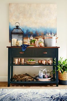 Hand-painted on canvas to evoke a moody, purposely ambiguous landscape, Pier 1's Impression Abstract Art will charm an entire room full of guests and harmonize with decor from any era. And, as the work comes into focus, you'll discover that it's always exactly what you need it to be—beautiful.