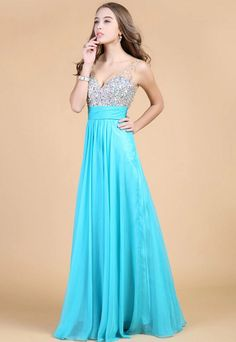 sparkly beaded v-neck a-line long custom sky blue #prom #dress http://www.lunss.com/