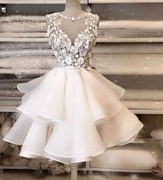 White Tulle Lace Round Neck Short Layered Homecoming Dress, Knee Length Party Dress from Sweetheart Dress Handmade+item Materials:+Tulle,+lace+ Made+t Homecoming Dresses Knee Length, Prom Dress Black, A Line Prom Dresses, Prom Party Dresses, Party Gowns, Knee Length Dresses, Dance Dresses, Wedding Dresses, Dress Party