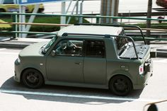Matte Olive Drab paint and complete with jerry cans. Scion Cars, Toyota Scion Xb, Kei Car, Little Truck, Honda Element, Japan Cars, Mini Trucks, Small Cars, Retro Cars