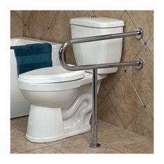 Pickens U-Shape Grab Bar with Leg Support - Grab Bars - Bathroom Accessories - Bathroom Ada Bathroom, Bathroom Safety, Bathroom Toilets, Bathroom Interior, Small Bathroom, Neutral Bathroom, Bathroom Ideas, Handicap Toilet, Handicap Bathroom