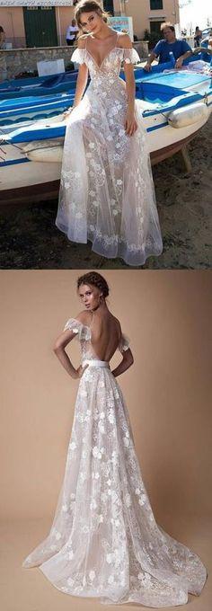 Hot Sexy V-Neck Lace Off Shoulder White Floor-Length Prom Wedding Dress