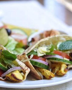 Recipes from The Nest - Greek Chicken Pita with Cucumber and Mint
