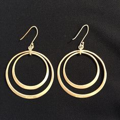 """Banana Republic Gold Hoops stamped """"925"""" (Vermeil) Banana Republic double hoop earrings, matte gold, stamped """"925"""" (Gold Vermeil- silver jewelry coated with thin layer of gold). Banana Republic Jewelry"""