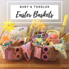 Our Girls' Easter Baskets (Toddler Baby) Boys Easter Basket, Easter Baskets For Toddlers, Easter Gifts For Kids, Easter Gift Baskets, Easter Crafts, Easter For Babies, Fun Easter Ideas, Baby Girl Gift Baskets, Easter Food