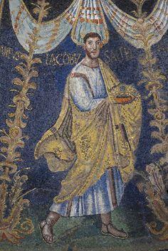 James   Apostle   Battistero Neoniano   5th century   mosaic   ceiling   baptistry   Ravenna Ravenna Mosaics, Byzantine Art, Medieval Art, Sacred Art, Christian Faith, Archaeology, Fresco, Oil On Canvas, Stained Glass
