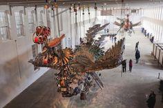 Phoenix, A Pair of Massive Phoenix Sculptures Made of Chinese Construction Debris