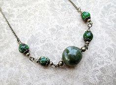 Green Bead Necklace Beaded Jewelry Handmade by LittleBitsOFaith, $27.00