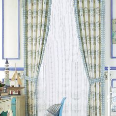 Mediterranean blue, green, off-white novelty curtains # homedecor Kids Curtains, Green Curtains, Concrete Wall, Furniture For Small Spaces, Family Adventure, Home Decor Bedroom, Farmhouse Style, Off White, Blue Green