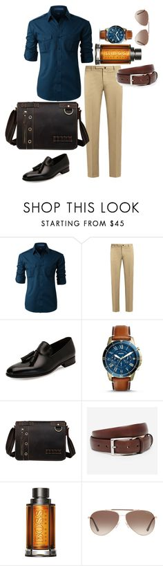 """""""Brown and boss"""" by niki-row ❤ liked on Polyvore featuring LE3NO, Incotex, Salvatore Ferragamo, FOSSIL, Bonobos, BOSS Hugo Boss, Tom Ford, men's fashion and menswear"""