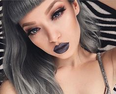 Queen @_missbo in metallic gray-brown 'Asphalt' Perlee lipstick Available now on limecrime.com #limecrime #perlees