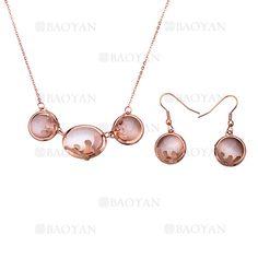 juego collar y pendientes de ronda con piedra especial en acero rosado inoxidable -SSNEG403985