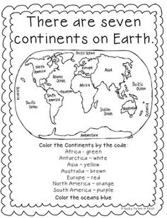 FREE Color the Continents | FirstGradeFaculty.com | Pinterest ...