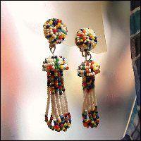 Chandelier Vintage Earrings 1960s American Indian Rainbow Beads