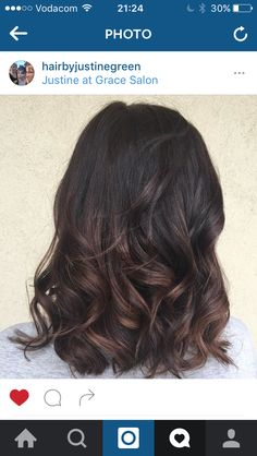 Balayage low lights. Dark brown hair with subtle low lights.