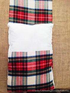 How To Make A Pillow Case From A Scarf, Plaid Scarf Pillow Case DIY, Make a pillow from a scarf, Christmas Pillow DIY, Celebrating Everyday Life with Jennifer Carroll Sewing Pillows, Diy Pillows, No Sew Pillow Covers, Pillow Cases, Diy Scarf, Plaid Scarf, Christmas Pillow, Diy Crafts, How To Make