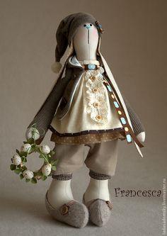 Купить Зайка весенняя Francesca - бежево-коричневый, интерьерная кукла, игрушка ручной работы