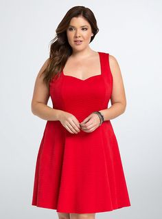 Plus Size Textured Knit Fluted Dress, BRIGHT RED
