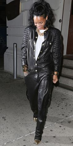 Rihanna in a black Leather Jumpsuit by Balmain
