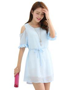 Waboats Women Summer Lotus Korean Strapless Loose Dress S Light Blue