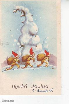 Vintage Christmas Cards, Christmas Greetings, Vintage Cards, New Year Card, Yule, Christmas And New Year, Holidays And Events, Elves, Troll