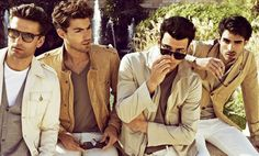 jackets in sand, camel, cream with grey, white & stone, on italians & spaniards, can't go wrong ~ Antonio Navas,Steve Gold, Juan Betancourt & George Paul|Sergi Pons for ICON