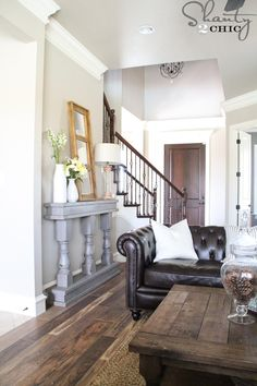 Beautiful look in a home. Also awesome tutorial on how to make that table/mantle