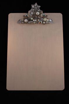 Cream Rhinestone Embellished Clipboard. $28.50, via Etsy.