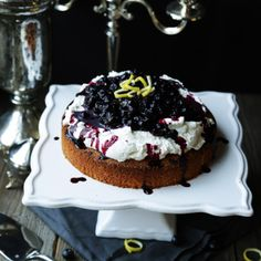 Lemon Polenta Cake with Blueberries